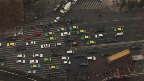A view looking straight down at a street from atop a high... Stock Video Footage