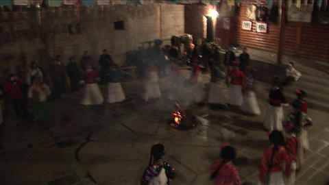 Native women perform a ceremonial dance in this shot from... Stock Video Footage