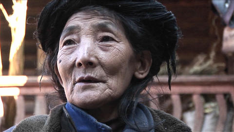 An elderly woman in China Footage