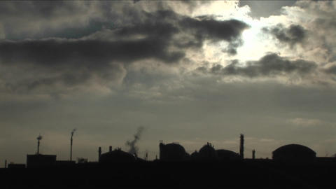 A time lapse shot over an industrial area Footage