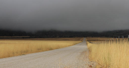 Autumn storm rural mountain valley road DCI 4K 413 Footage
