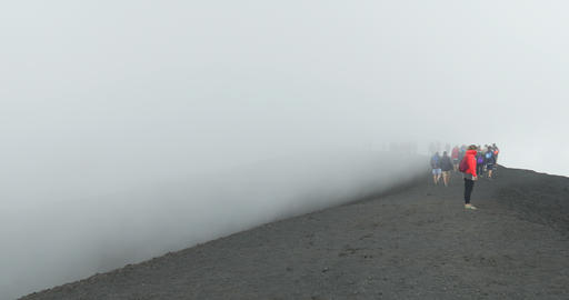Etna Summit Crater Tourist Footage