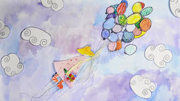 Cute watercolor animation - girl flying on balloons Animation