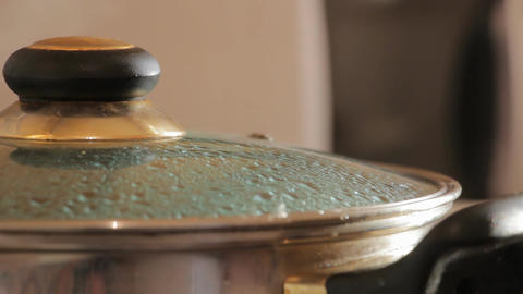 Glass lid the pot boiling Footage