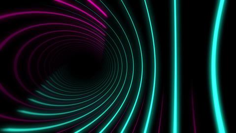 Glowing Magenta and Cyan Circular Neon Light Beams background Animation