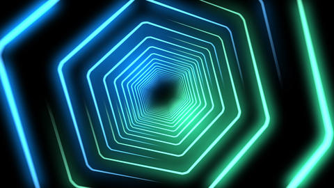 Blue and Green Neon Hexagon Light Beams Background Animation