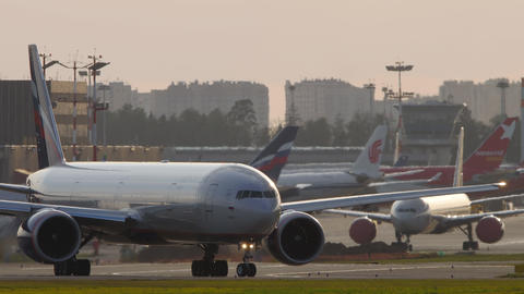 Aeroflot - Russian Airlines Boeing 777 airliner taxiing to runway for departure Live Action