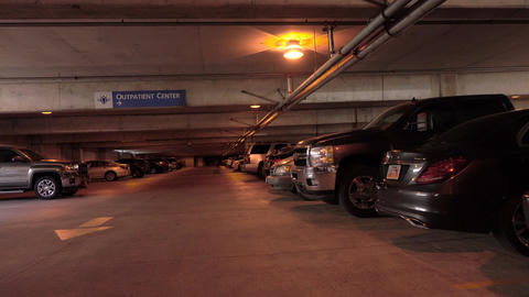 Parking garage hospital dark walking POV 4K 006 Footage