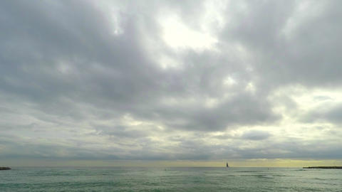 Ominous Clouds Over The Sea Stock Video Footage