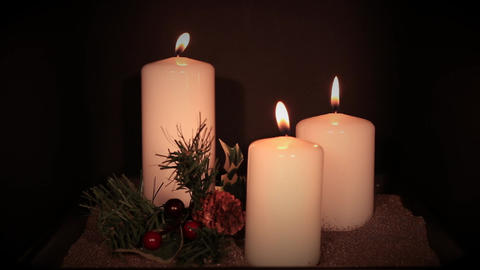3 white candles Footage