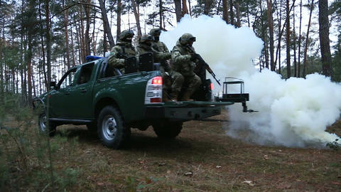 Military special forces perform the job in the forest Live Action