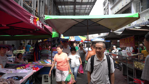 Busy morning at morning market George Town Live Action