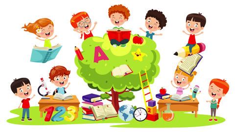 Funny Kids Studying And Learning Animation