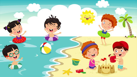 Happy Children Having Fun At Beach 動畫