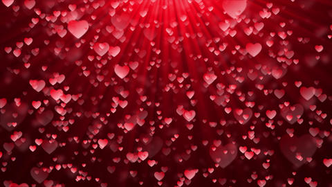 Abstract Magic Red hearts flying, Glow bokeh Live Action