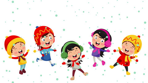 Children Playing Outside In Winter 動畫