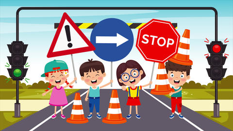 Traffic Concept With Funny Characters 動畫