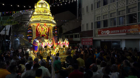 Hindu devotees take photo of golden chariot before start its journey Live Action