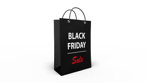 Rotating Black Friday sale concept on black shopping bag on white background Live Action