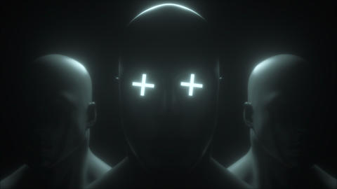 Three human head with neon in eyes, 3d rendering. Computer generated futuristic 動畫