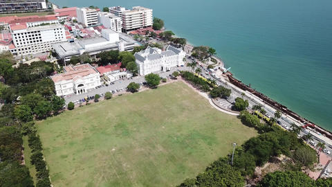 Aerial fly toward Penang Town Hall and City Hall at Esplanade Live Action