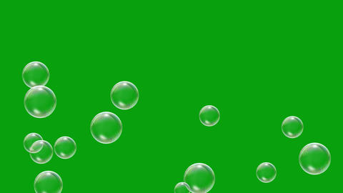 Flying soap bubbles motion graphics with green screen background Animation