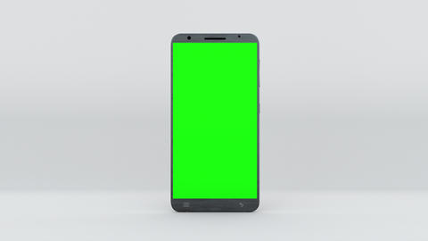 Demonstration of a smartphone with a green screen. Computer generated modern Animation