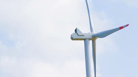 close-up of wind energy turbine are one of the cleanest, renewable electric energy source, under Live Action