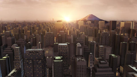 3d city building beach sunrise animation Animation