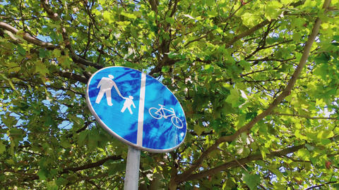 Bicycle sign in modern city, bike sign on a street Live Action