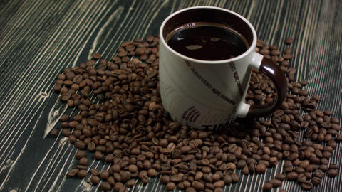 cup of coffee and coffee beans Footage