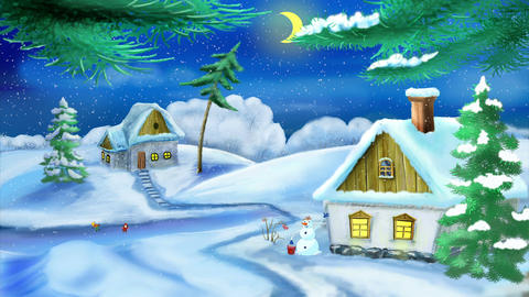Christmas Evening in a Small Village Animation