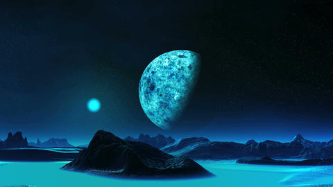 Blue Moon Rise On An Alien Planet Animation