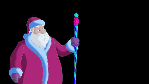 Santa Claus blowing snow alpha Animation