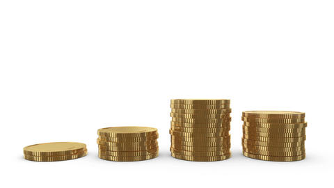 Growing stacks of gold coins. Four stacks on white. Depict the profit chart Animation