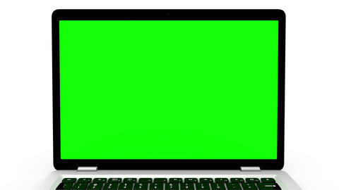 Modern laptop appearing from the side, isolated on a white background. Animation Animation