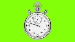 Animation stopwatch on a green background. A full minute Animation