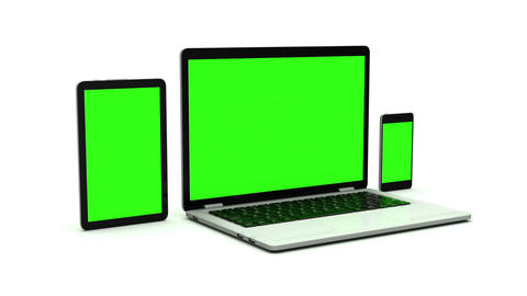 Modern Computer Equipment: Laptops Tablets Smartphones. There Is A Green Screen And Alpha Channel. 2