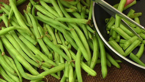 Cut small and slender green beans (haricot vert) Footage