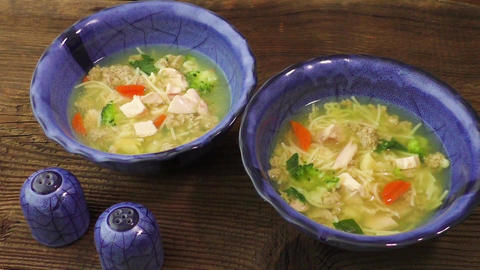 Chicken soup with pasta and vegetables Live Action