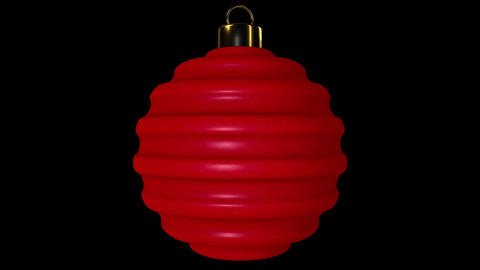 Red Ribbed Spinning Christmas Ball Animation