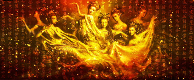 Chinese Style Gold Tone seven fairy background dynamic video material Live Action