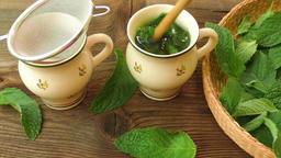 Healthy herb tea prepare. Fresh made Mint Tea Live Action