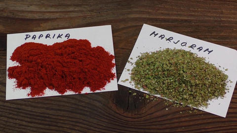Various spices on old brown wooden table Live Action
