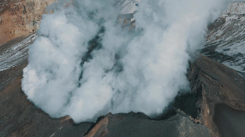 Aerial View Smoking Active Crater of Volcano Epic Panorama Landscape Terrain 4k Live Action