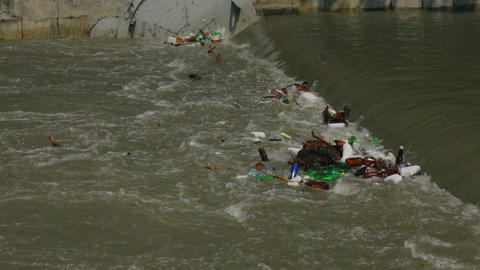 City River Polluted With Garbage Live Action