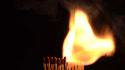 Match Sticks Catching Flame - Twelve Sticks Live Action