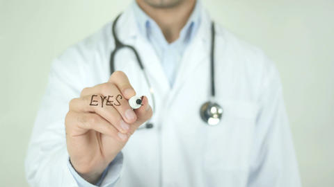 Eyes inflammation, Doctor Writing on Transparent Screen Live Action