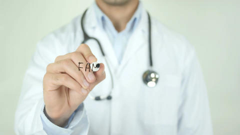Family Doctor, Doctor Writing on Transparent Screen Footage