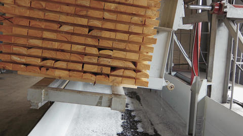 Block of wood boards after soaking in a special solution Footage